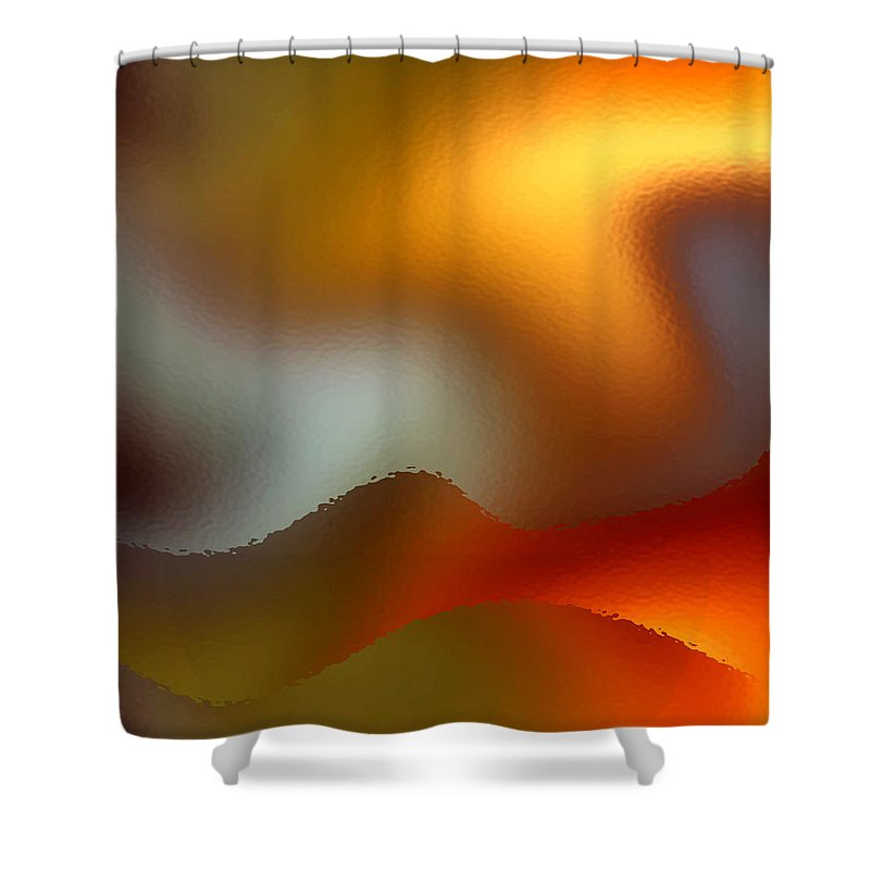 Abstract Shower Curtain featuring the digital art Luminous Waves by Ruth Palmer