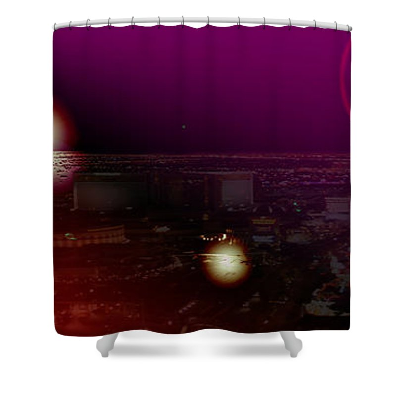 Las Vegas Strip Moon Stars Lunar Sky Planets Orbit Space Shower Curtain featuring the photograph Luna Vegas by Andrea Lawrence