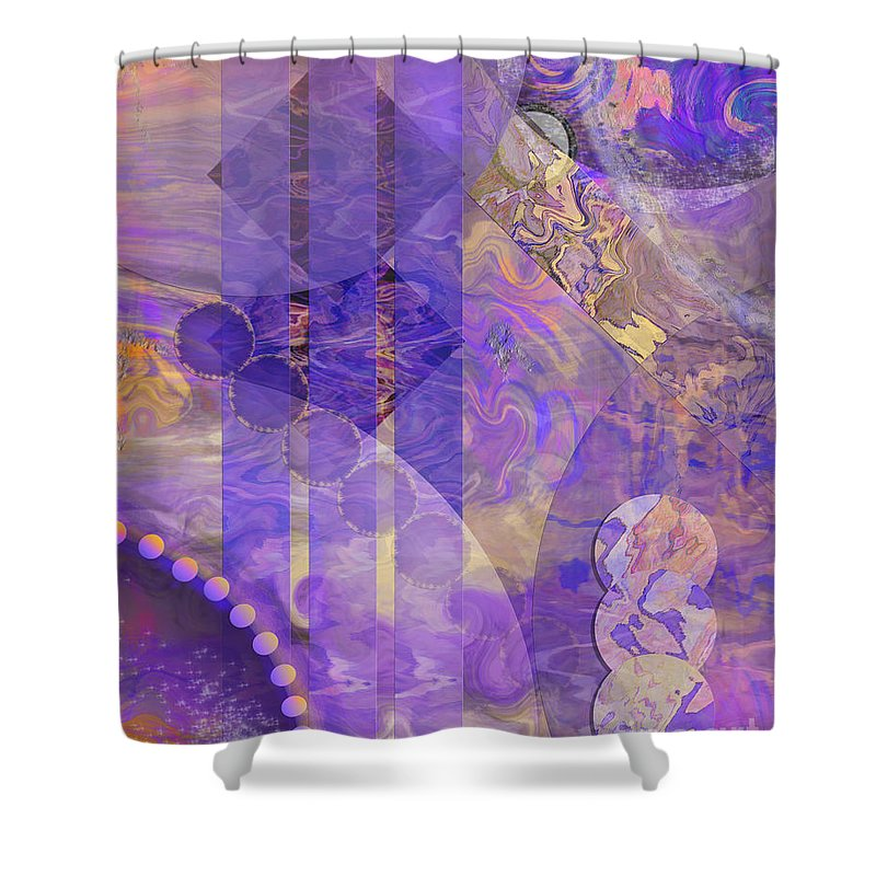 Lunar Impressions 2 Shower Curtain featuring the digital art Lunar Impressions 2 by John Beck