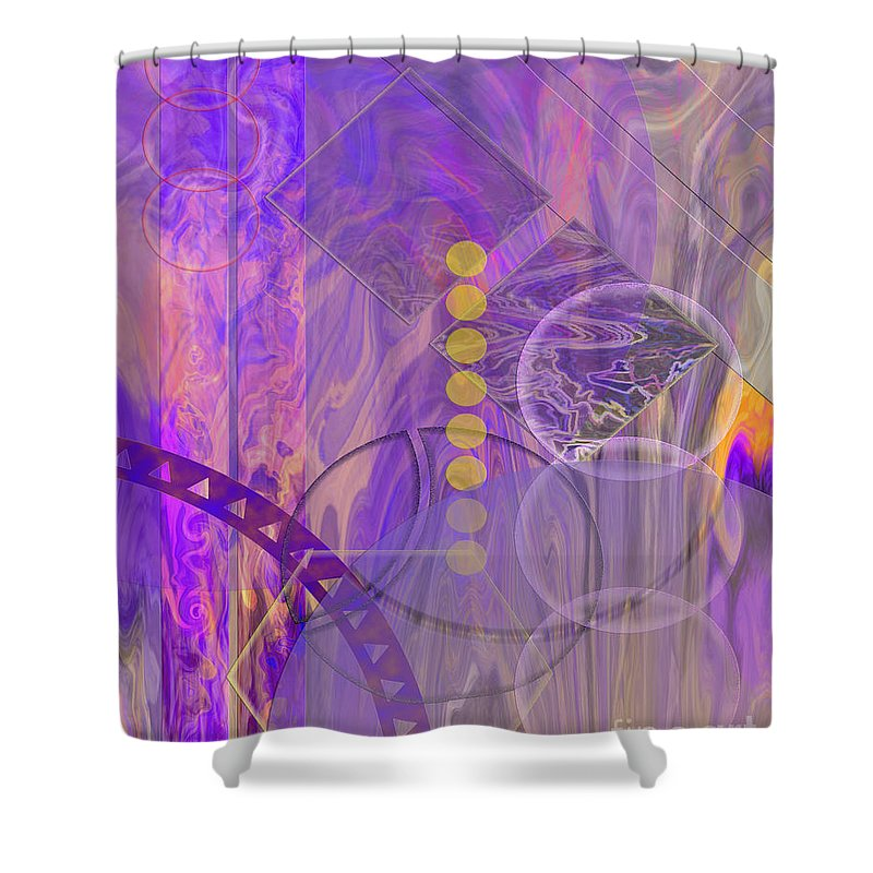 Lunar Impressions 3 Shower Curtain featuring the digital art Lunar Impressions 3 by John Beck