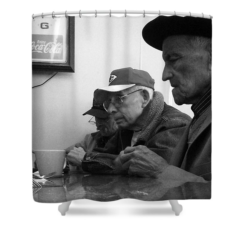 Diner Shower Curtain featuring the photograph Lunch Counter Boys - Black And White by Tim Nyberg