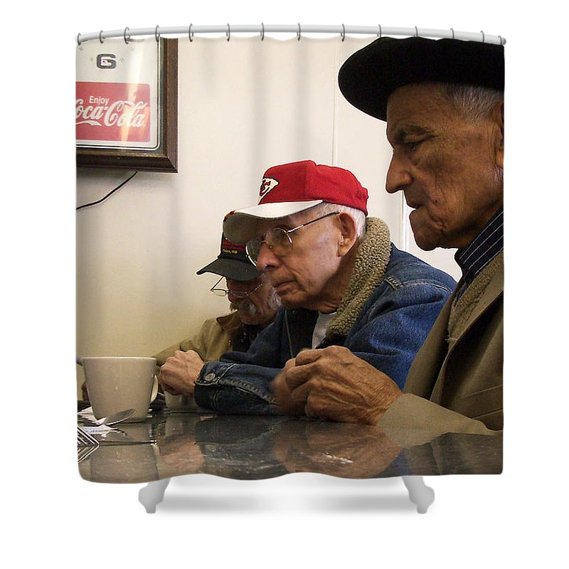 Diner Shower Curtain featuring the photograph Lunch Counter Boys by Tim Nyberg