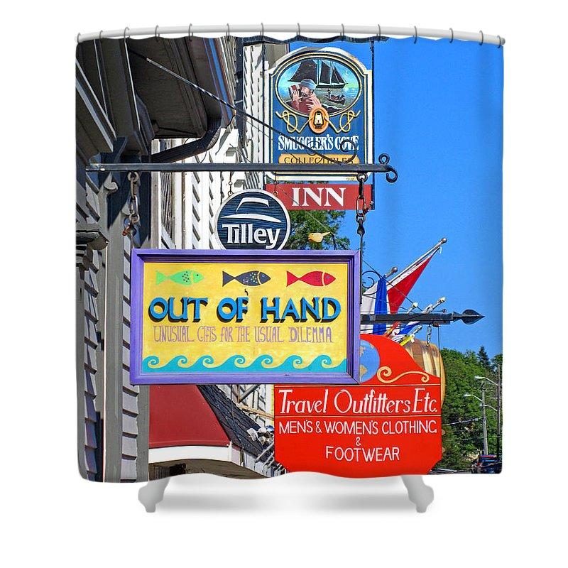 Lunenburg Store Sign Shower Curtain featuring the photograph Lunenburg Shop Signs by Mark Sellers