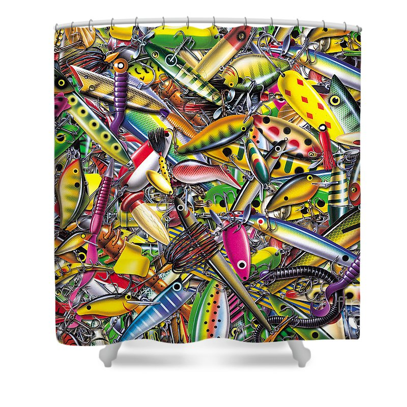 Jon Q Wright Shower Curtain Featuring The Painting Lure Collage By JQ Licensing