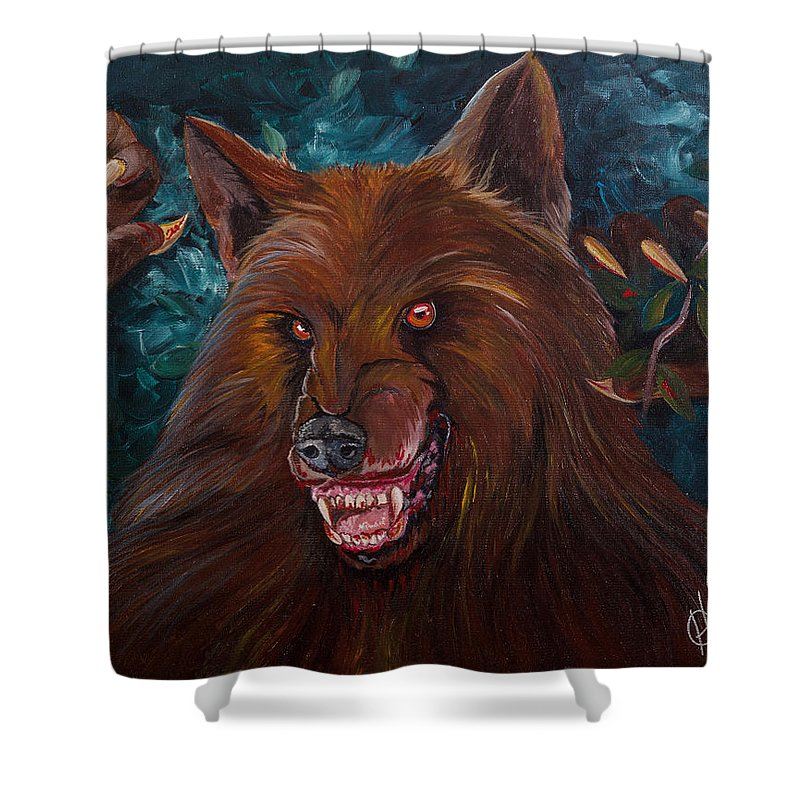 Werewolf Shower Curtain featuring the painting Lurking by Heather Grisham