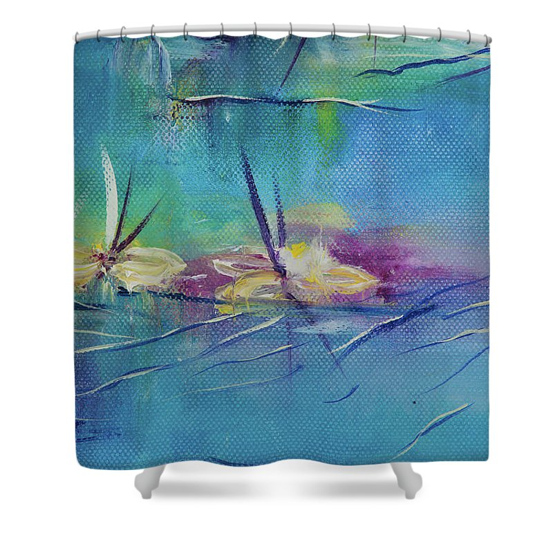 Glass Isle Series Shower Curtain featuring the painting Lush by Dechen ART