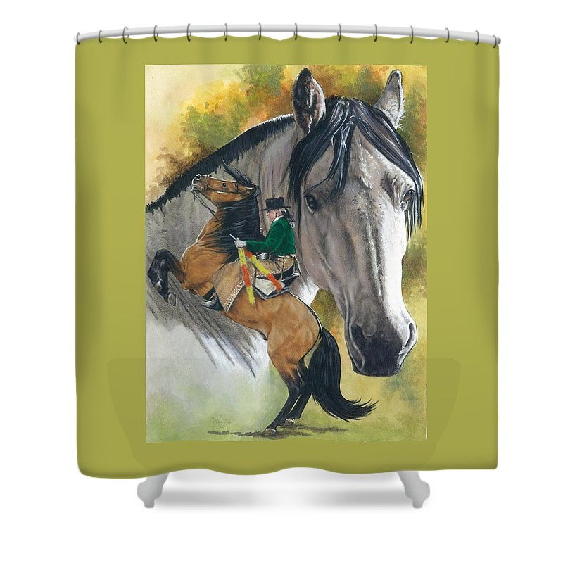 Horses Shower Curtain featuring the mixed media Lusitano by Barbara Keith