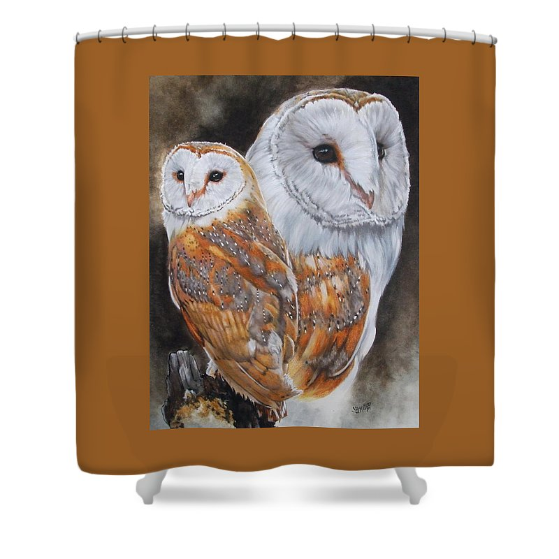 Bird Shower Curtain featuring the mixed media Luster by Barbara Keith