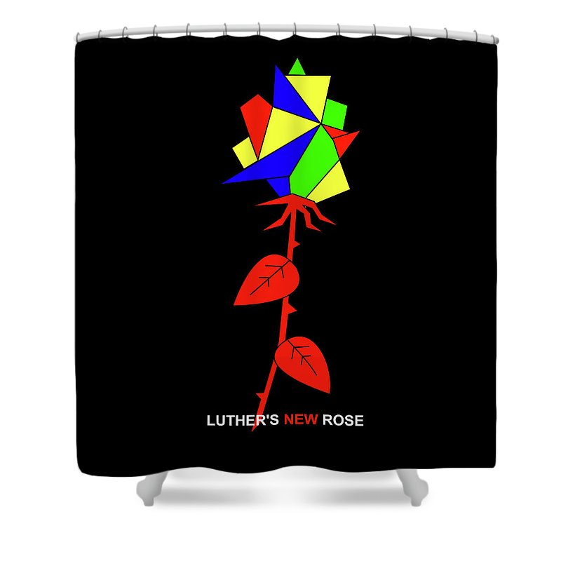 Shower Curtain featuring the mixed media Luthers NEW Rose by Asbjorn Lonvig