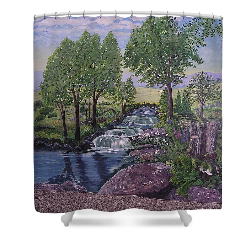 Mural Wall Shower Curtain featuring the painting Luxury Bath Time by Stella Sherman