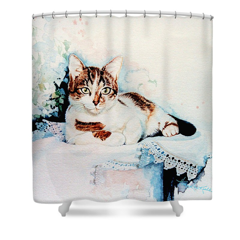 Painting Of Tyke Shower Curtain featuring the painting Luxury Lounge by Hanne Lore Koehler
