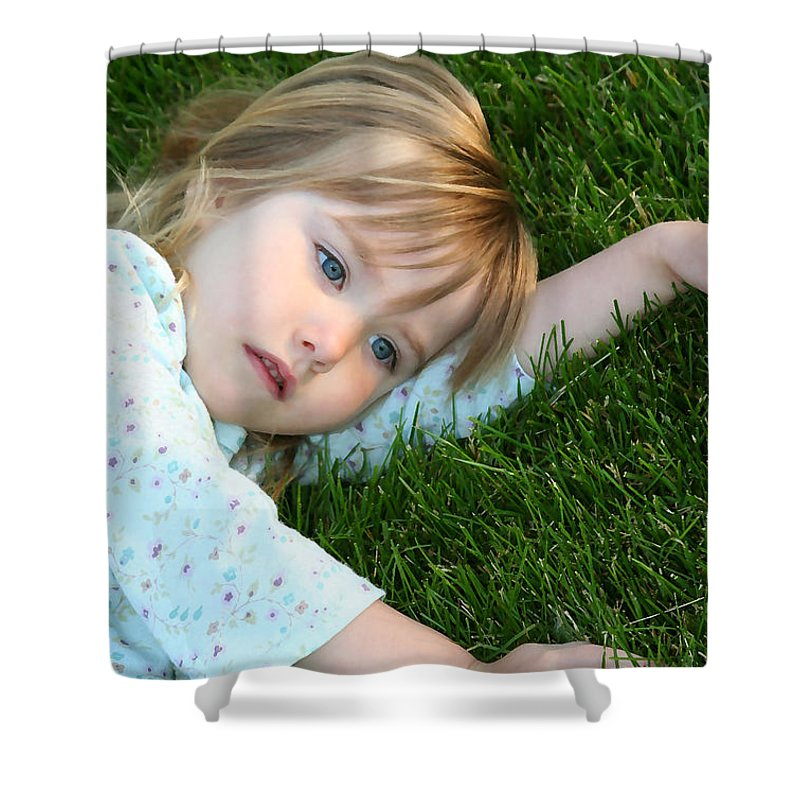 Girl Shower Curtain featuring the photograph Lying In The Grass by Margie Wildblood