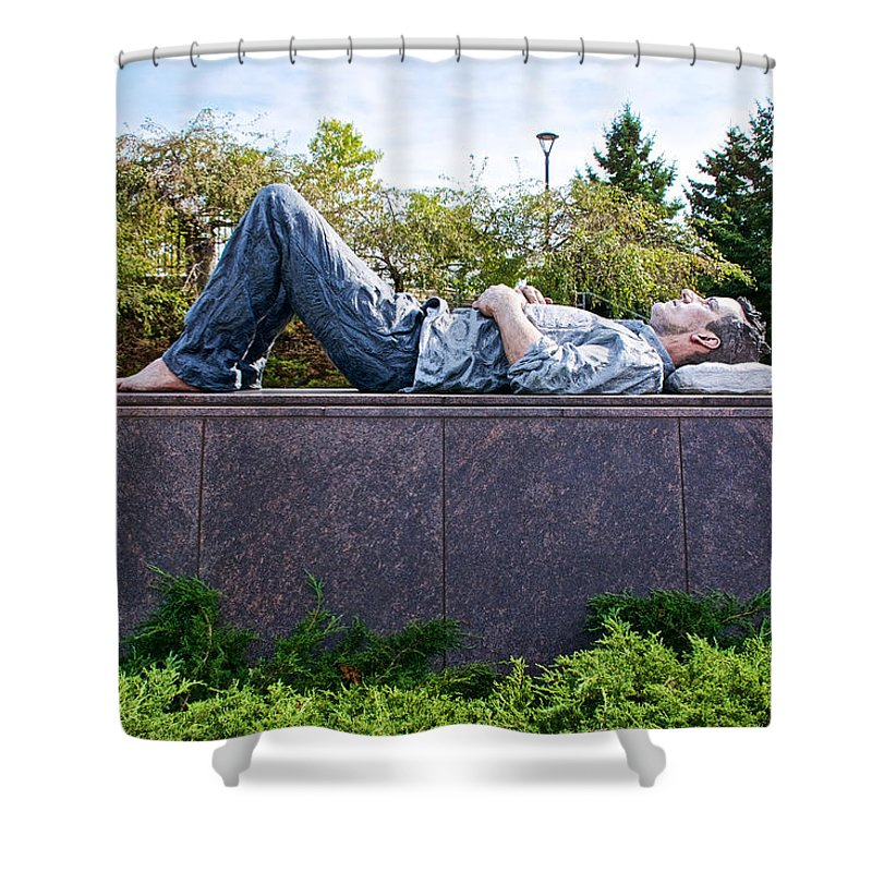 Lying Man Sculpture In Meijer Gardens And Park Grand Rapids Shower Curtain Featuring The