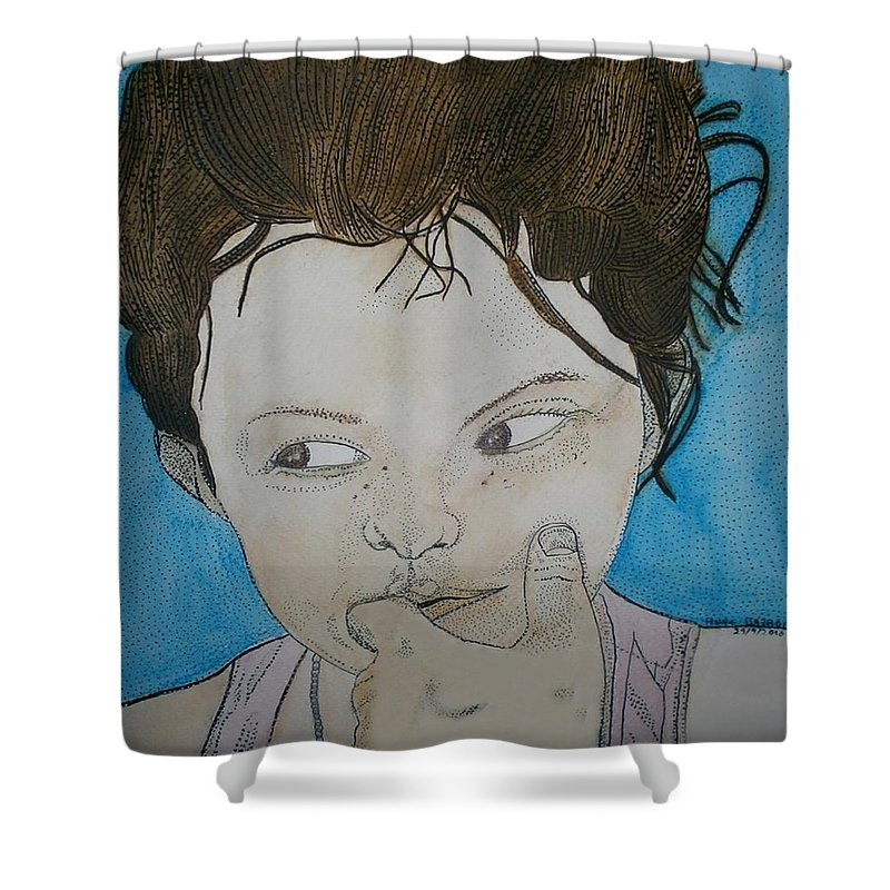 Enfant Shower Curtain featuring the painting Lyla Le Chocolat Colle Aux Dents by Anne Bazabidila
