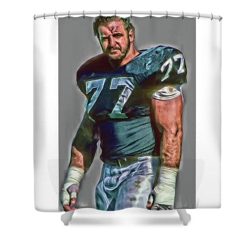 Lyle Alzado Shower Curtain Featuring The Mixed Media Oakland Raiders Oil Art By Joe