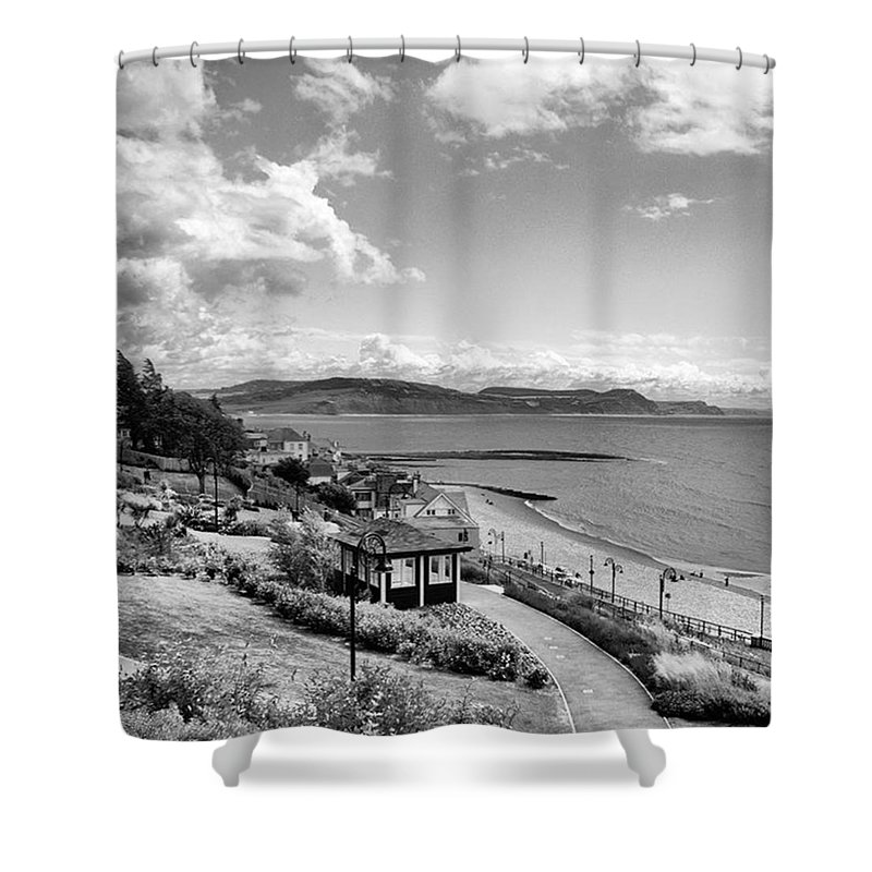 Blackandwhitephotography Shower Curtain featuring the photograph Lyme Regis And Lyme Bay, Dorset by John Edwards