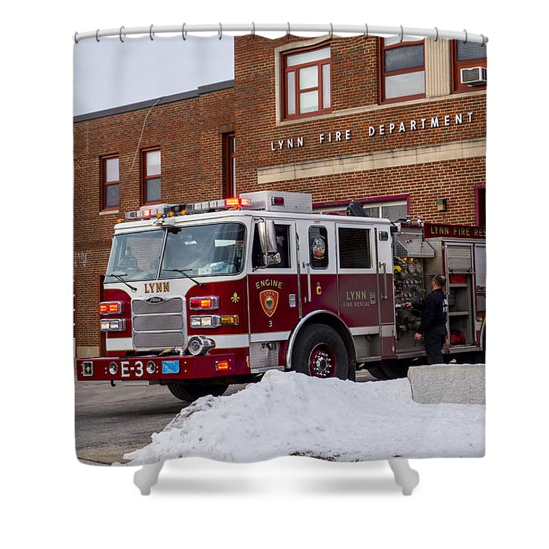 Lynn Shower Curtain Featuring The Photograph Ma Fire Truck Station By Toby McGuire
