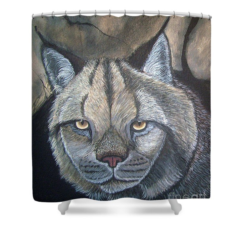 Lynx Shower Curtain featuring the painting Lynx by Nick Gustafson