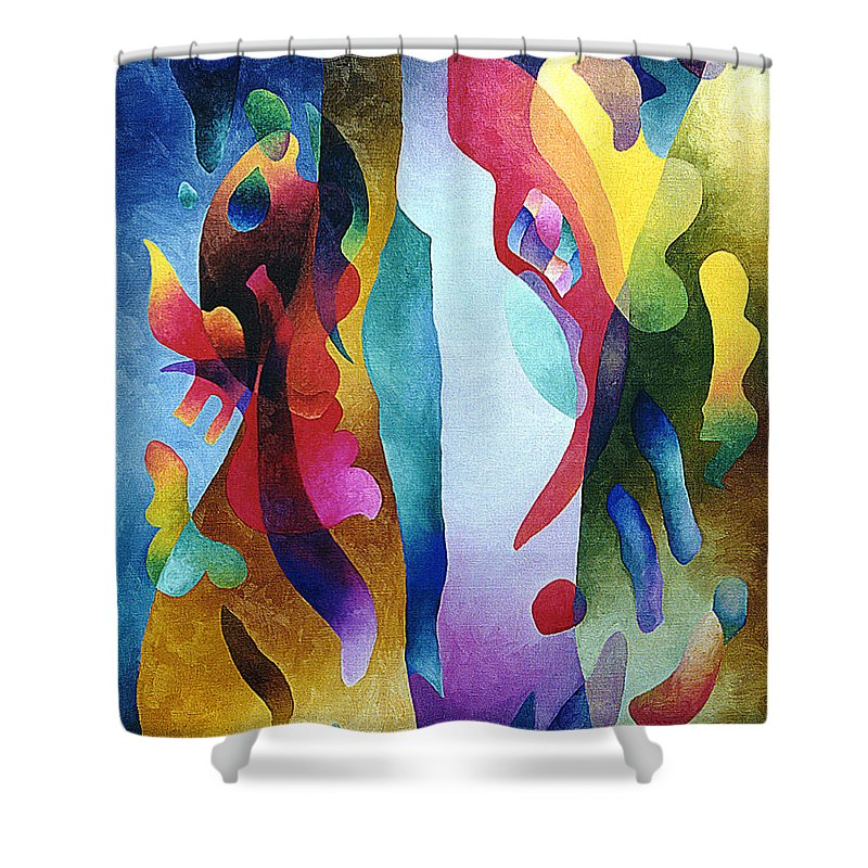 Abstract Shower Curtain featuring the painting Lyrical Grouping by Sally Trace