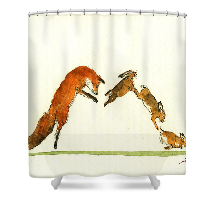 Alphabet Print Shower Curtain Featuring The Painting M Letter Woodland Animals By Juan Bosco