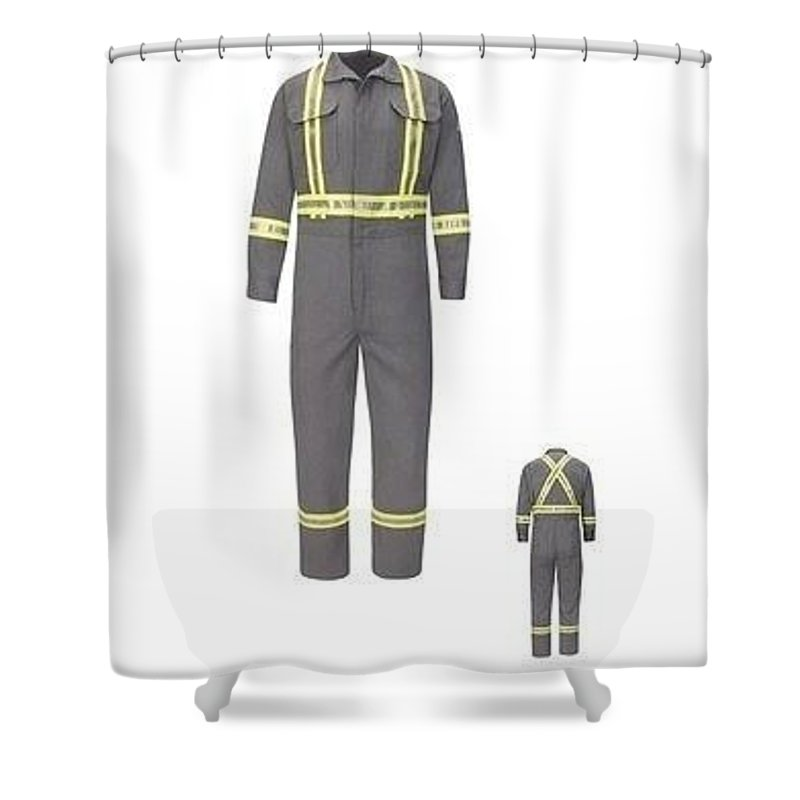 Industrial Uniforms Shower Curtain featuring the digital art M Premium Coverall, Tecasafe by Jerry Martin