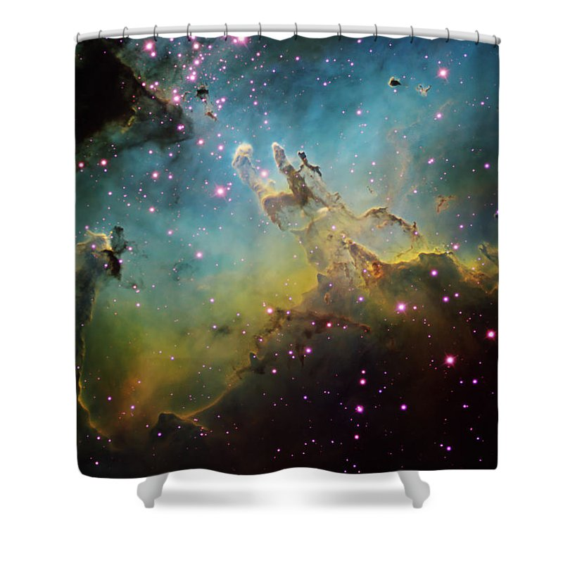 Astronomy Shower Curtain featuring the photograph M16 The Eagle Nebula by Ken Crawford