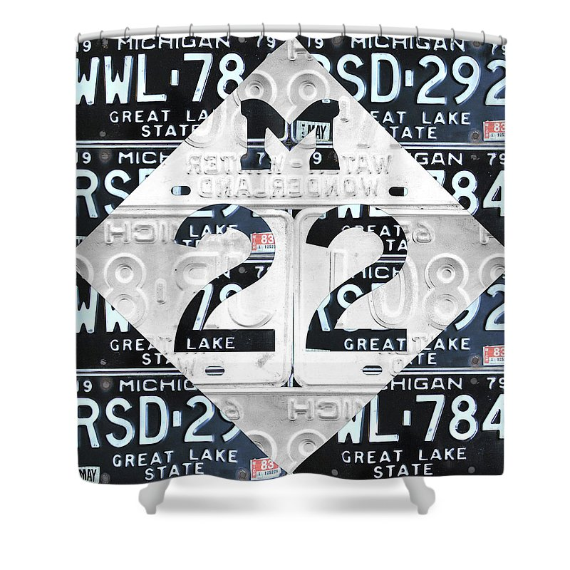 M22 Shower Curtain Featuring The Mixed Media Michigan Highway Symbol Recycled Vintage Great Lakes State