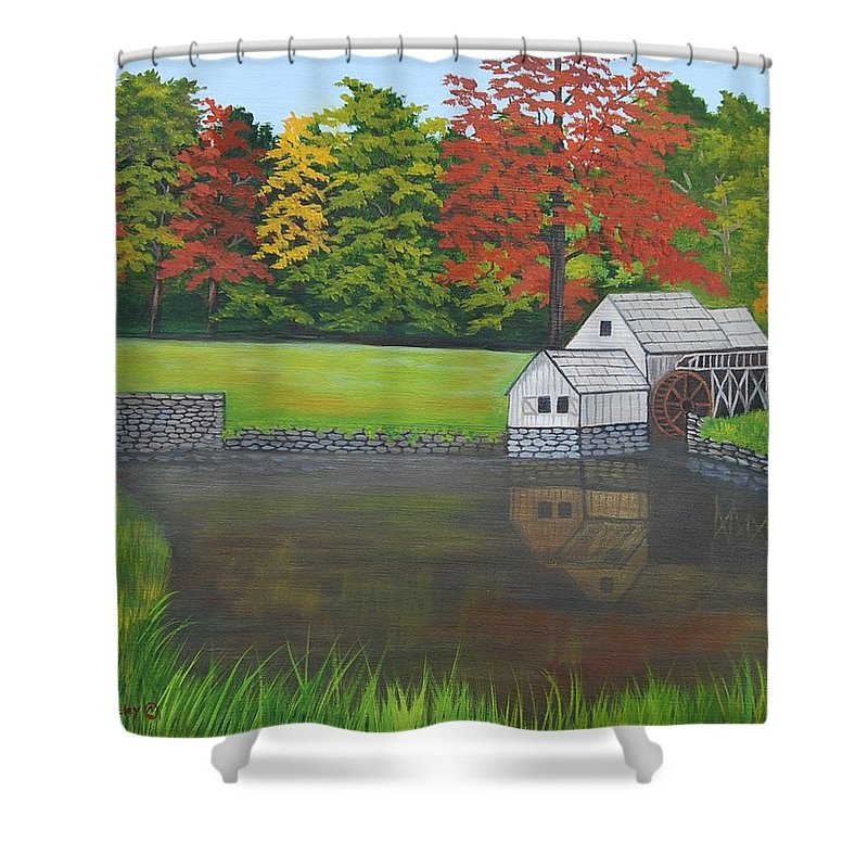 Landscape Shower Curtain featuring the painting Mabry Grist Mill by Ruth Housley