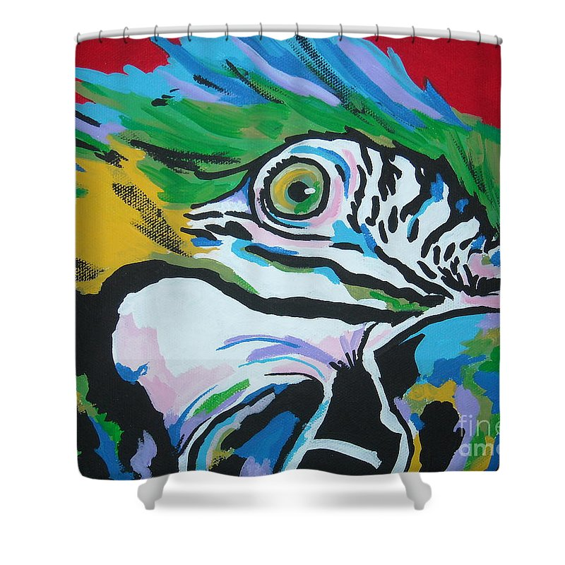 Macaw Shower Curtain featuring the painting Macaw by Caroline Davis