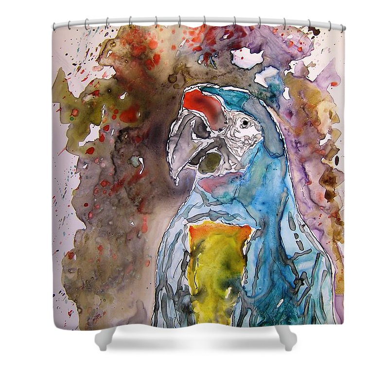 Parrot Shower Curtain featuring the painting Macaw Parrot by Derek Mccrea