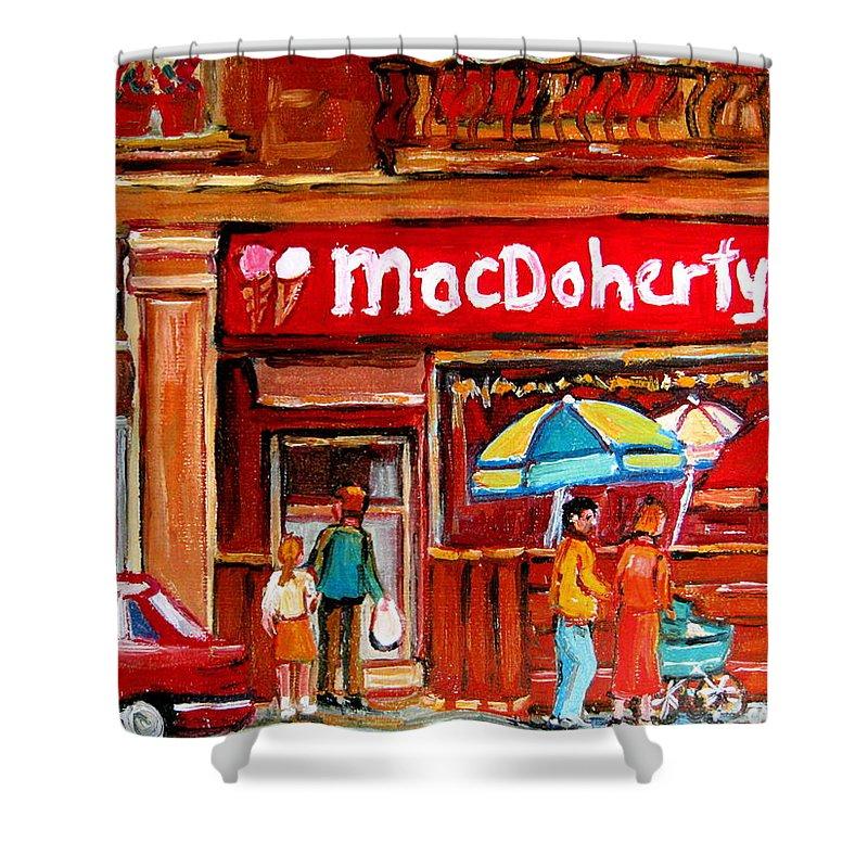 Macdohertys Shower Curtain featuring the painting Macdohertys Icecream Parlor by Carole Spandau