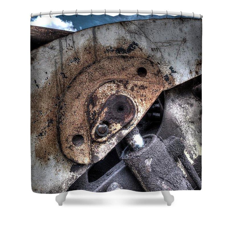 Hydraulic Ram Shower Curtain featuring the photograph Machine Rust Hydraulic Ram by John Williams