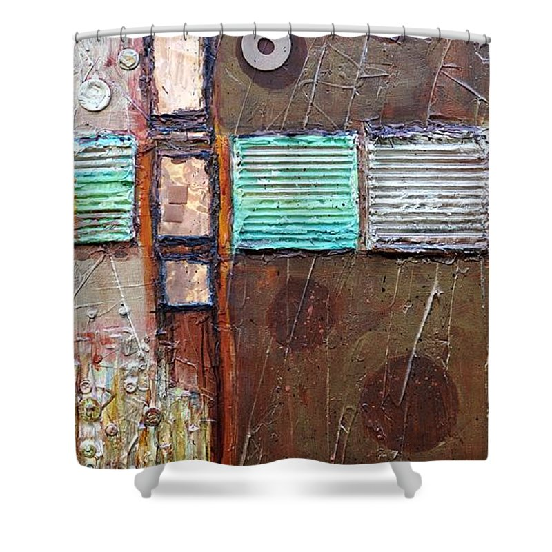Abstract Collage Shower Curtain featuring the painting Machine Shop 1 by Ginger Concepcion