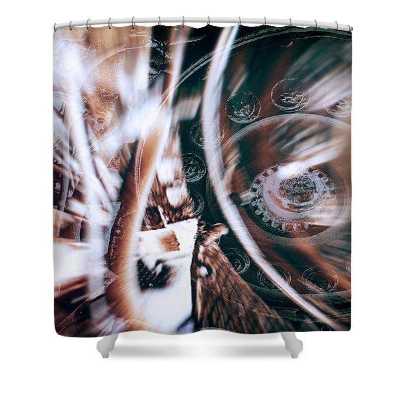 Machine Abstract Shower Curtain featuring the photograph Machine Speed Warp In Blur by John Williams