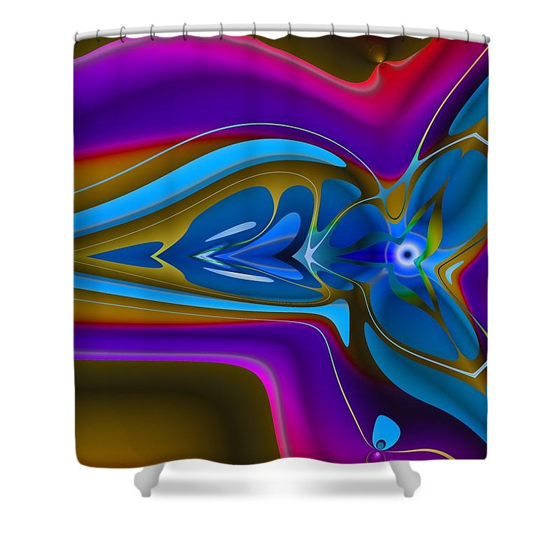 Vivid Shower Curtain featuring the digital art Machined Whorl by Christopher Jay