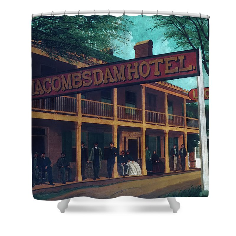 Art Shower Curtain featuring the painting Macomb's Dam Hotel by M A Sullivan