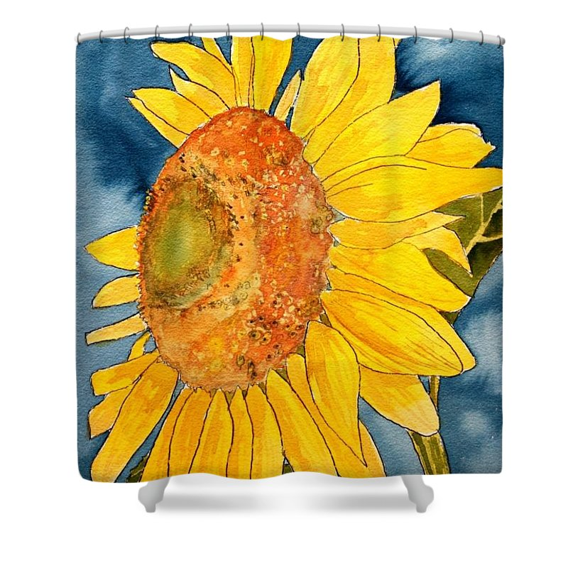 Sunflower Shower Curtain featuring the painting Macro Sunflower Art by Derek Mccrea