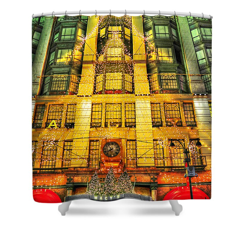 Macy's Shower Curtain featuring the photograph Macy's At Christmas by Randy Aveille