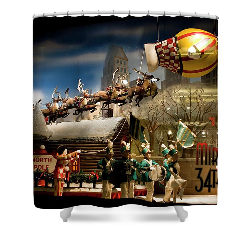 New York City Shower Curtain featuring the photograph Macy's Miracle On 34th Street Christmas Window by Lorraine Devon Wilke