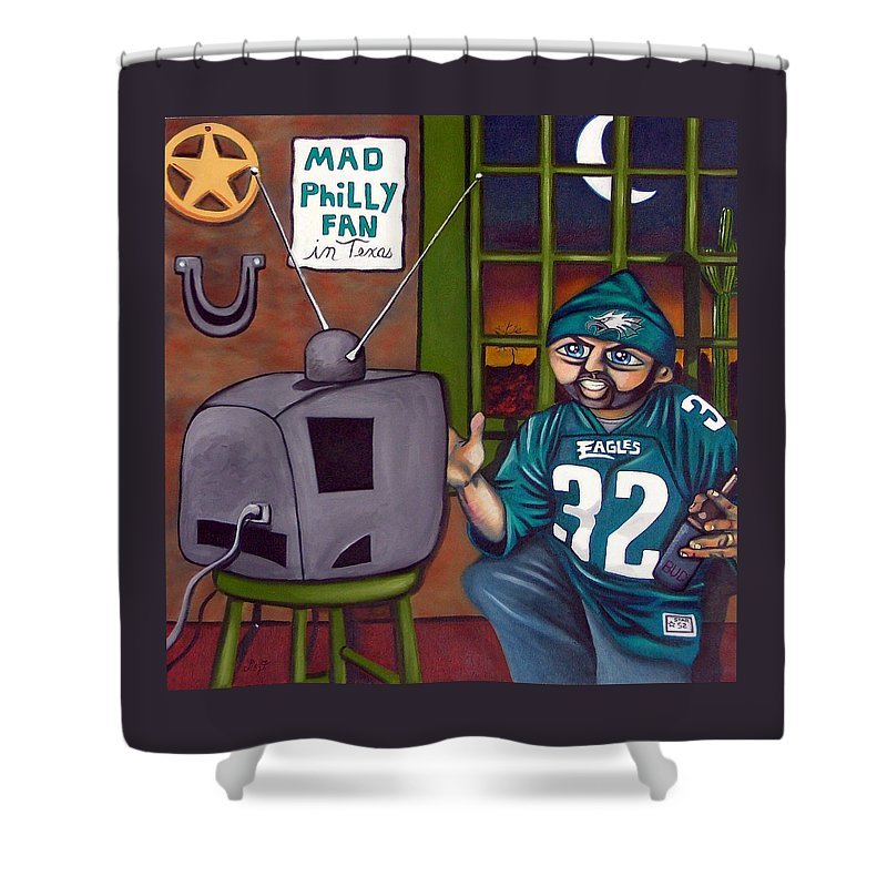 Philadelphia Shower Curtain featuring the painting Mad Philly Fan In Texas by Elizabeth Lisy Figueroa
