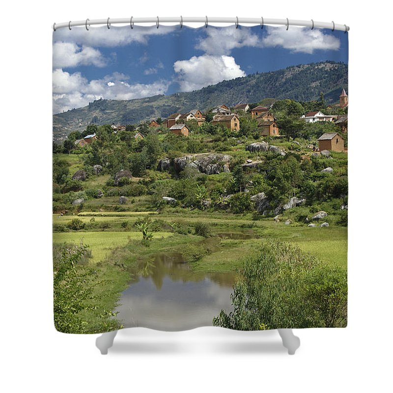 Madagascar Shower Curtain featuring the photograph Madagascar Village by Michele Burgess