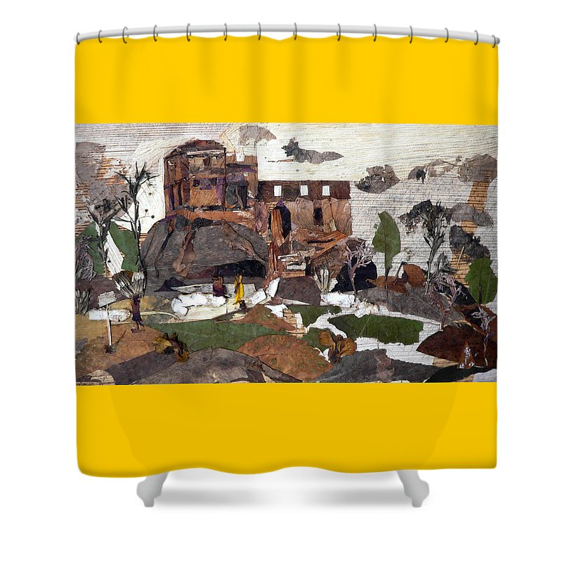 Palace Made By King Madan Shah Shower Curtain featuring the mixed media Madan Mahal by Basant Soni