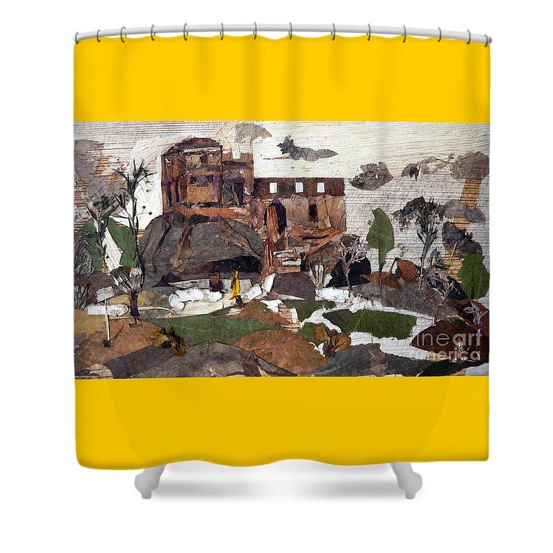 Palace Made By King Madan Shah Shower Curtain featuring the mixed media Madan Mahal by Basant Soni