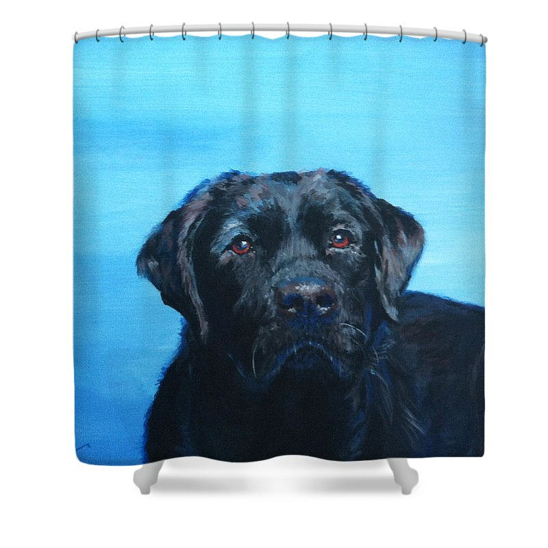Labrador Shower Curtain featuring the painting Maddie's Eyes by Marietta Faso
