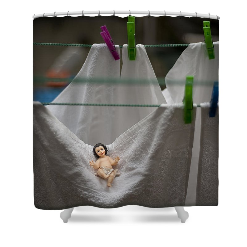 Christmas Shower Curtain featuring the photograph Made In China Baby Jesus by Rafa Rivas