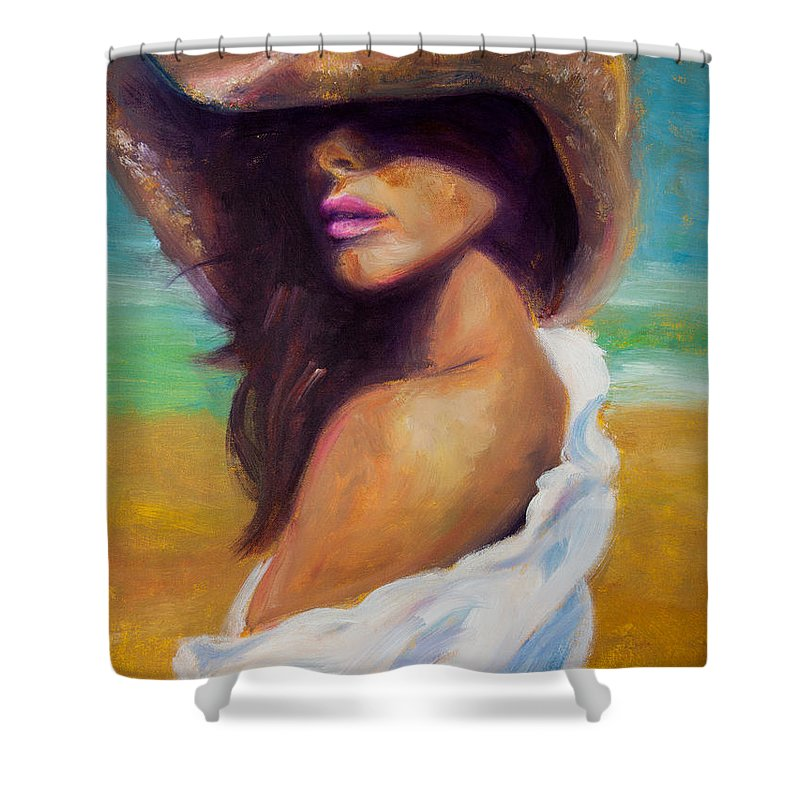 Girl Shower Curtain featuring the painting Made In The Shade by Jason Reinhardt