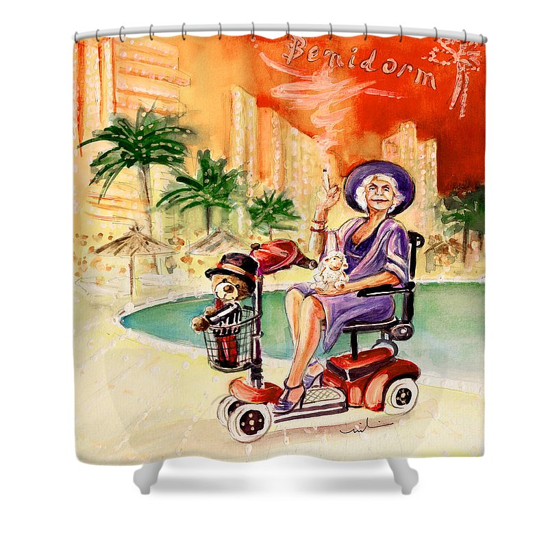 Animals Shower Curtain featuring the painting Madge Mary And Truffle by Miki De Goodaboom