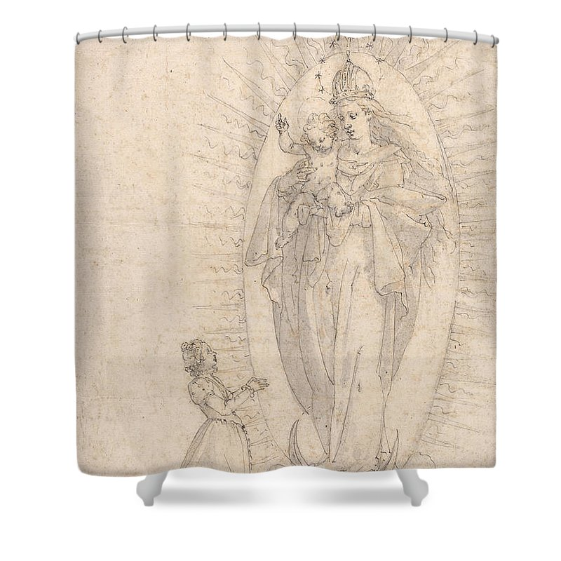 Shower Curtain featuring the drawing Madonna And Child Appearing To A Supplicant by Georg Neher