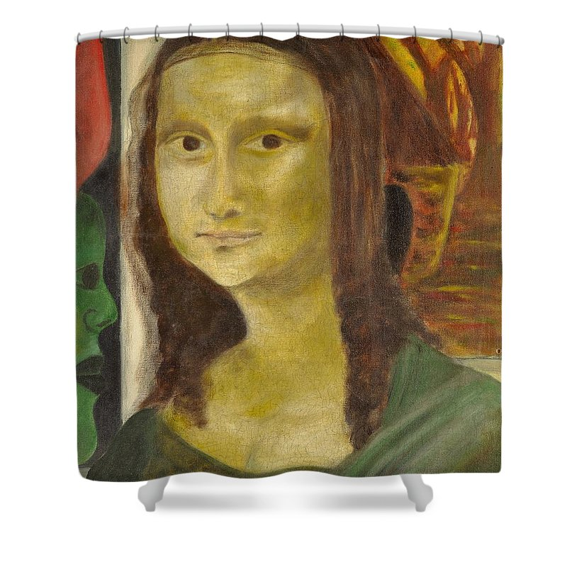 Madonna Shower Curtain featuring the painting Madonna In Africa by Emeka Okoro