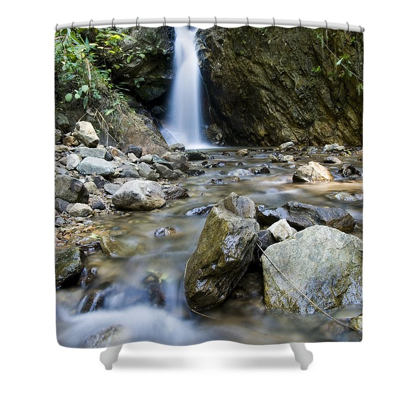 Bill Brennan Shower Curtain featuring the photograph Maekutlong Waterfall by Bill Brennan - Printscapes